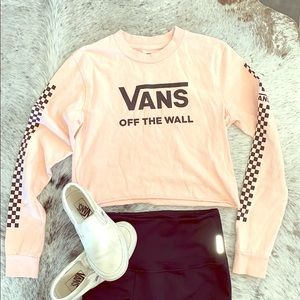 VANS Pink Long Sleeve Crop Top with Logo. Size XS